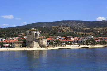 Old tower at the beach in Ouranoupoli