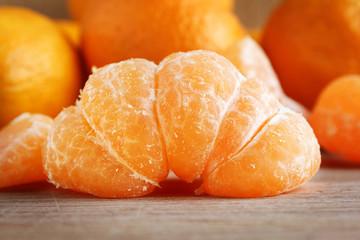 Tangerines on wood closeup