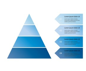 Vector infographic pyramid with arrows and text