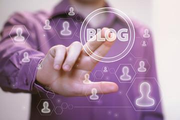 Businessman hand press web blog button sign