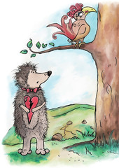 Hedgehog in love and a bird