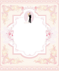 stylish wedding invitation card with vintage ornament background