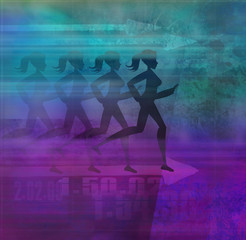 runner silhouette girl on the abstract background