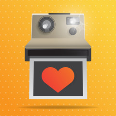 Instant Camera with Red heart