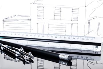 Zirkel Stift Maßstab Skizze