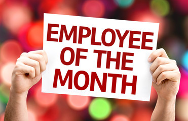Employee of the Month card with colorful background