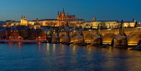 Panorama of the evening Prague