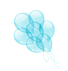 Bunch blue balloons isolated on white background