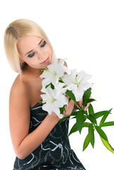 blond girl with a lily