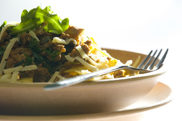 minced beef meat with rucola and nachos