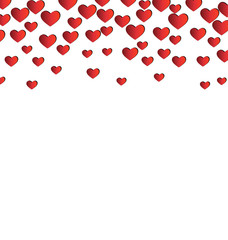 Red hearts isolated on white background