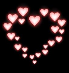 Self-illuminated pink hearts like frame on black background