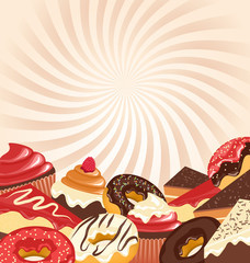 Sweets with radial stripes on beige background