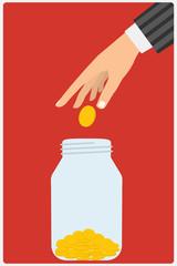 Flat design style vector illustration. Businessman's hand throwi