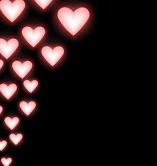 Self-illuminated pink hearts on black background