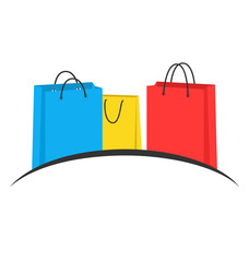 Three multicolored shopping bags like emblem isolated on white b
