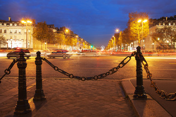 Parisian Champs Elysees in evening,