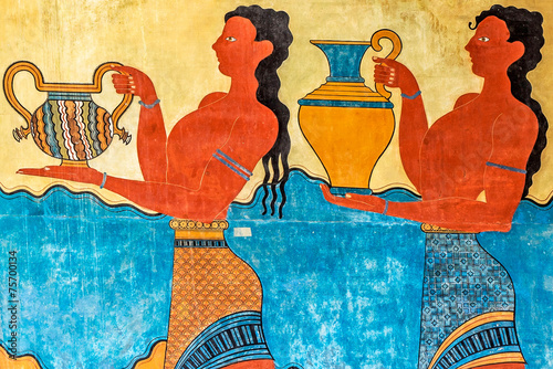 Foto op Canvas Wand Procession Fresco at Knossos Palace