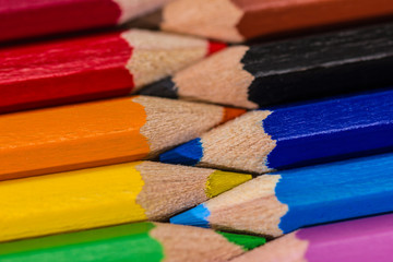 Colorful wooden crayons, pencils