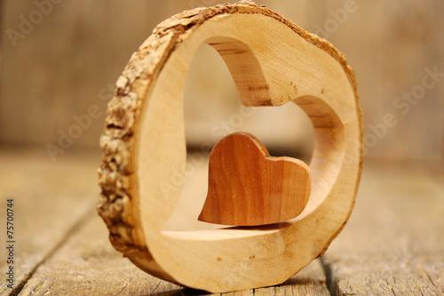 canvas print picture zwei Herzen aus Holz