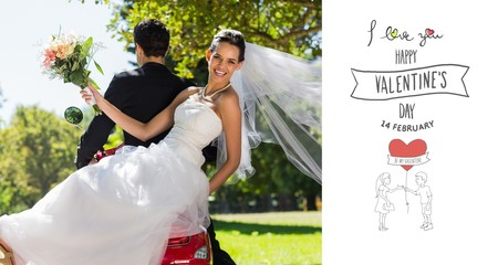 Composite image of newlywed couple sitting on scooter in park