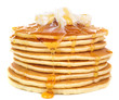 Stack of delicious pancakes with butter and honey isolated - 75701175