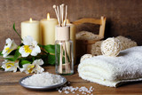 Fototapety Composition of spa treatment on wooden background