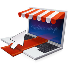 Laptop and online shop