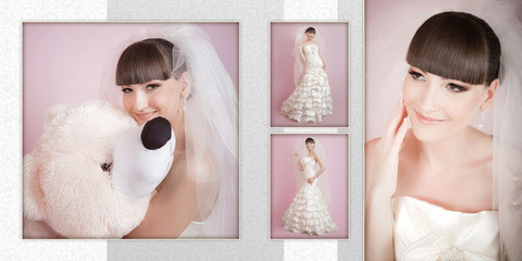 Collage - studio portrait of a happy bride on a pink background