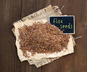 Flax seeds with small chalkboard