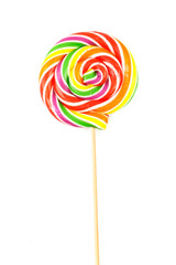 Sweet Vibrant Lollipop. Isolated on white background