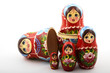 Leinwanddruck Bild - five traditional Russian matryoshka dolls