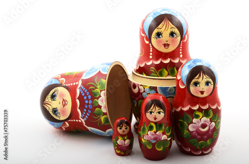 Leinwanddruck Bild five traditional Russian matryoshka dolls