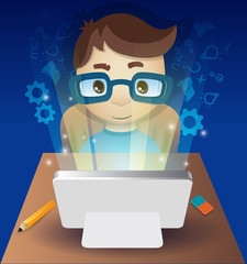 online learning (guy in front of computer)