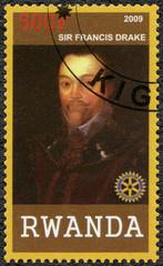 RWANDA - 2009: shows portrait of Sir Francis Drake (1540-1596)