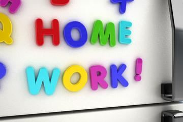 Home work magnets on refrigerator door
