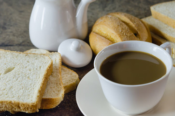 hot coffee and bread