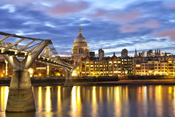 Night view of London St Pauls cathedral over River Thames
