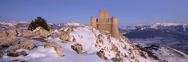 Panoramic view of Rocca Calascio in winter time at sunset. Abruz