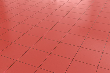 red tiled floor background