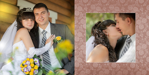 Collage -  groom and the bride on a swing during wedding walk