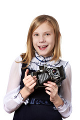 Girl photographer with retro camera