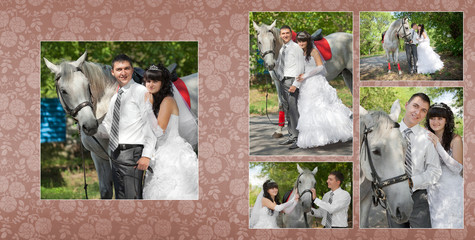 Collage - groom and the bride   against a grey horse