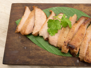 charcoal-boiled pork neck,Grill pork (Thai style food)