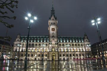 hamburg city hall at night