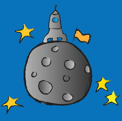 cartoon rocket spaceship with space, planets and stars