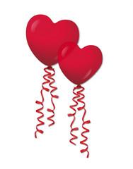 Herzluftballons mit Luftschlangen, Vektor