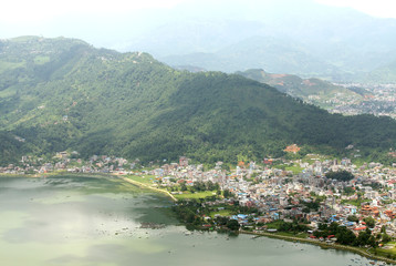 Pokhara city near the lake
