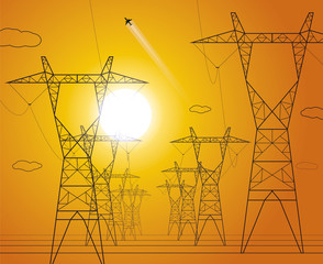 Sunset, energy panorama, power lines, industrial vector design