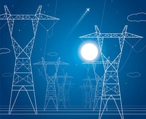Night, energy panorama, power lines, industrial vector design